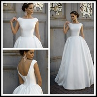 2017 White Satin Button Ball Gowns Wedding Dress Bridal