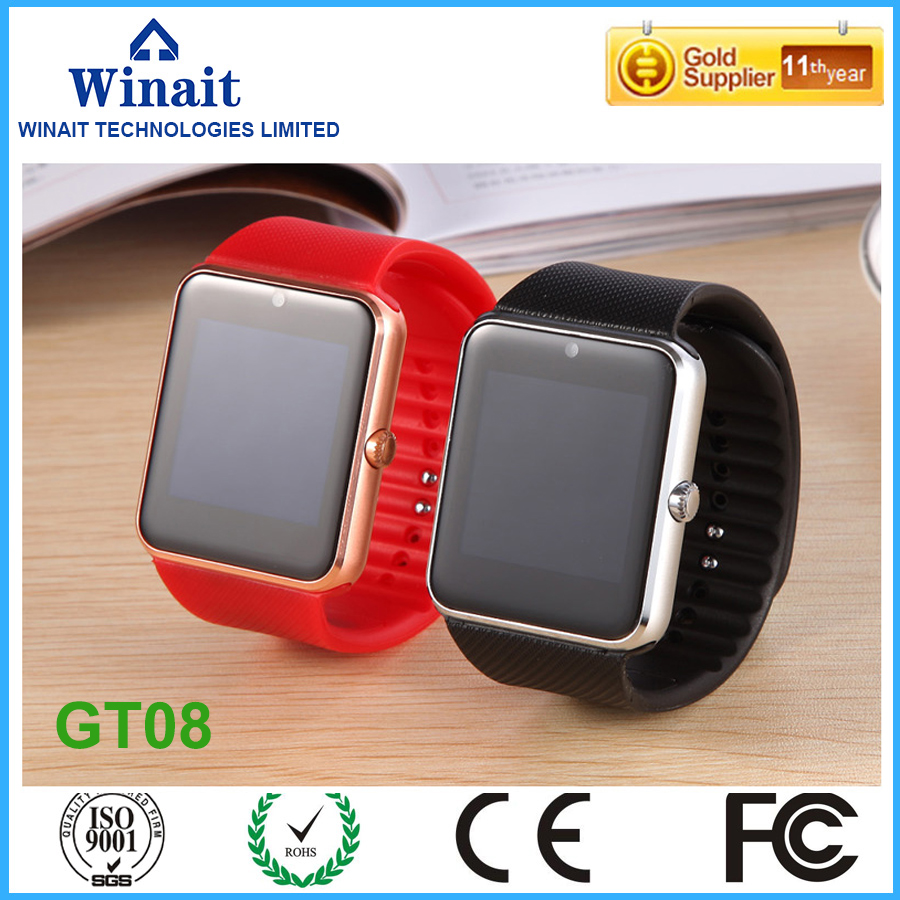 winait 2016 gsm smart watch phone with touch display DZ09 smart watch GT08