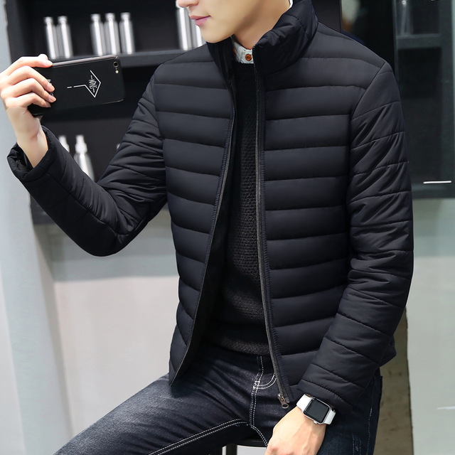 Cotton Padded Thick Male Jacket Spring Autumn Outerwear Men's Clothing Black Blue Red Size M-4XL