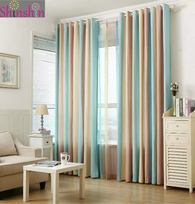 Multiple colors ready made semi-blackout curtains blind panel fabrics for window