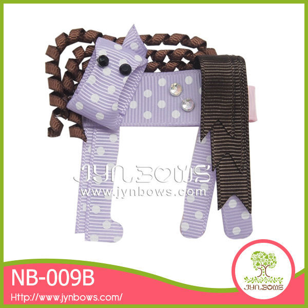 Handmade DIY horse grosgrain hair clip springs