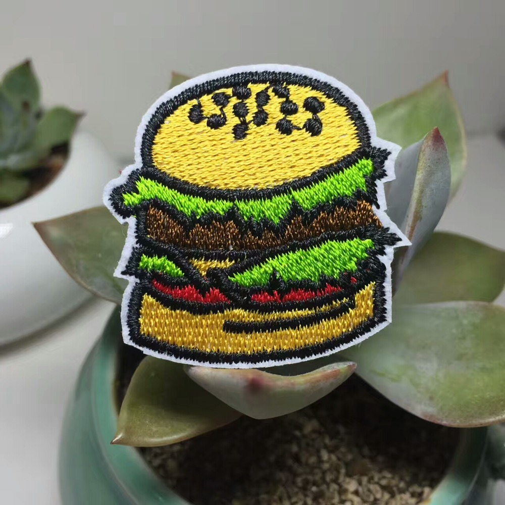 Hot selling cheap custom Embroidery Patch French Fries Hamburger custom german hamburger fast food embroidery transparent patch