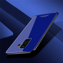 Luxury Tempered Glass Phone Case Soft Silicone Bumper for samsung s9 s9 plus a8 j7 j5 j2 case