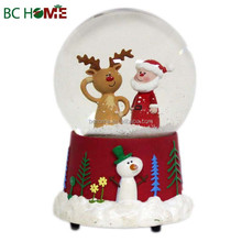 Christmas Santa With Reindeer Red Snow Globe Wholesale