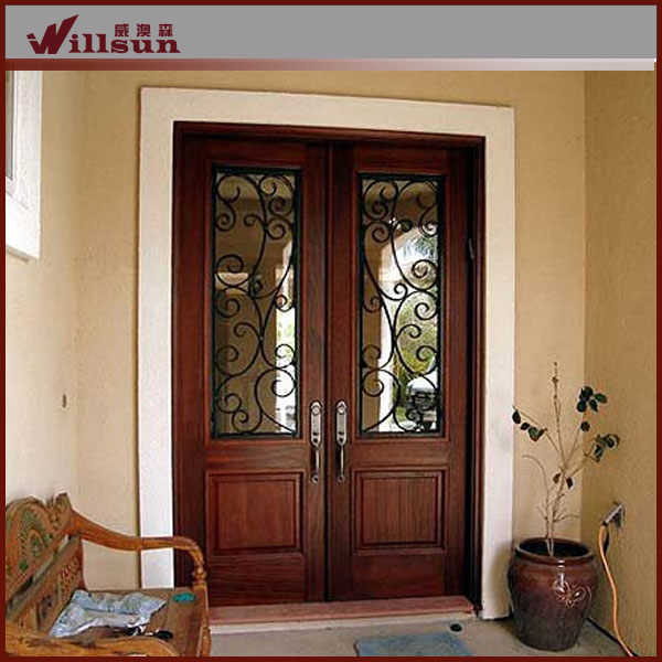 Iron wooden door Double Width Door with Straight Top and Transom