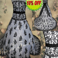 Hot Sale Factory Custom Made Long Good Quality Tulle Beaded Lace Appliqued Black And White Wedding Dress