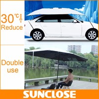 SUNCLOSE uv-protection clear blue plastic sheet steel banana umbrella half car cover with ears