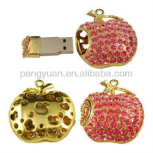 Crystal red apple jewelry, red apple usb flash stick memory (PY-U-201)