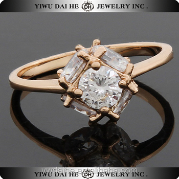 Fashion copper diamond engagement 2 gram gold ring price