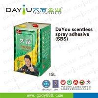 2016 lastest factory price waterproof fabric lamination auto trim sealant spray gum adhesive glue
