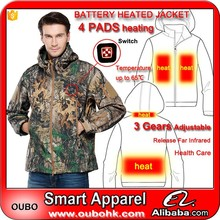 Battery operated heated clothes Rechargeable For Cold Weather Far Infrared thermal coat with 4 heated pads heated jacket OUBOHK