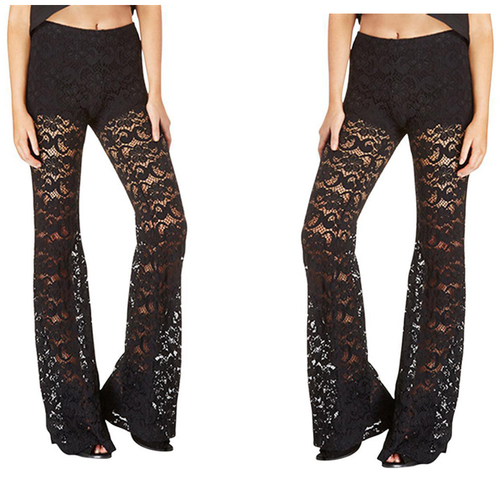 B32432A Women sexy lace embroidery wide leg pants ladies lace flare pants
