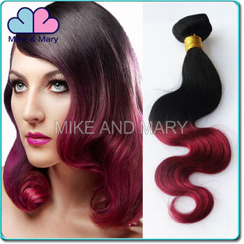 Fashiopnable two tones body wave Virgin russian ombre hair weaves for black women tangle free