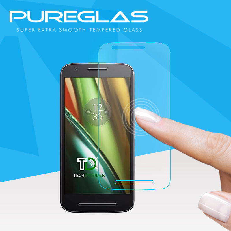New style Japanese Asahi Glass 2.5D 9H Anti - <strong>Shock</strong> tempered glass screen protector for moto E3