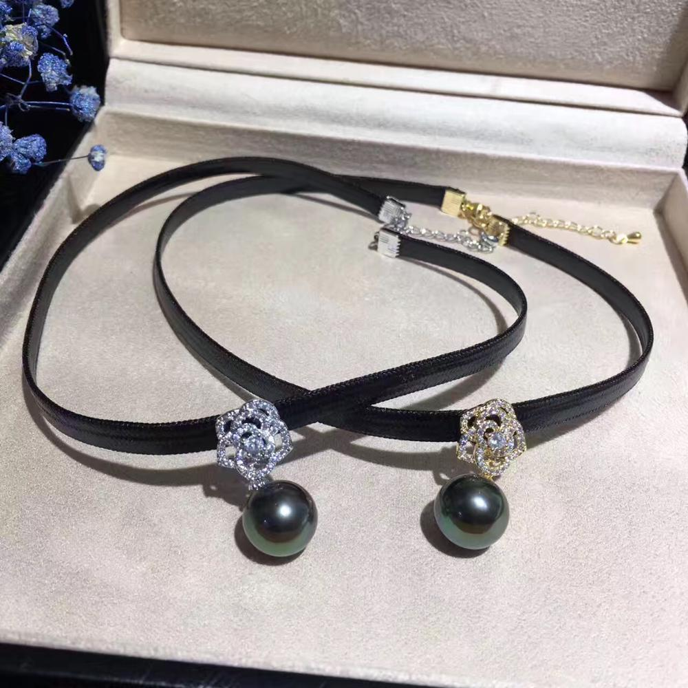 2018 Leather Choker Necklaces with round shell round beads