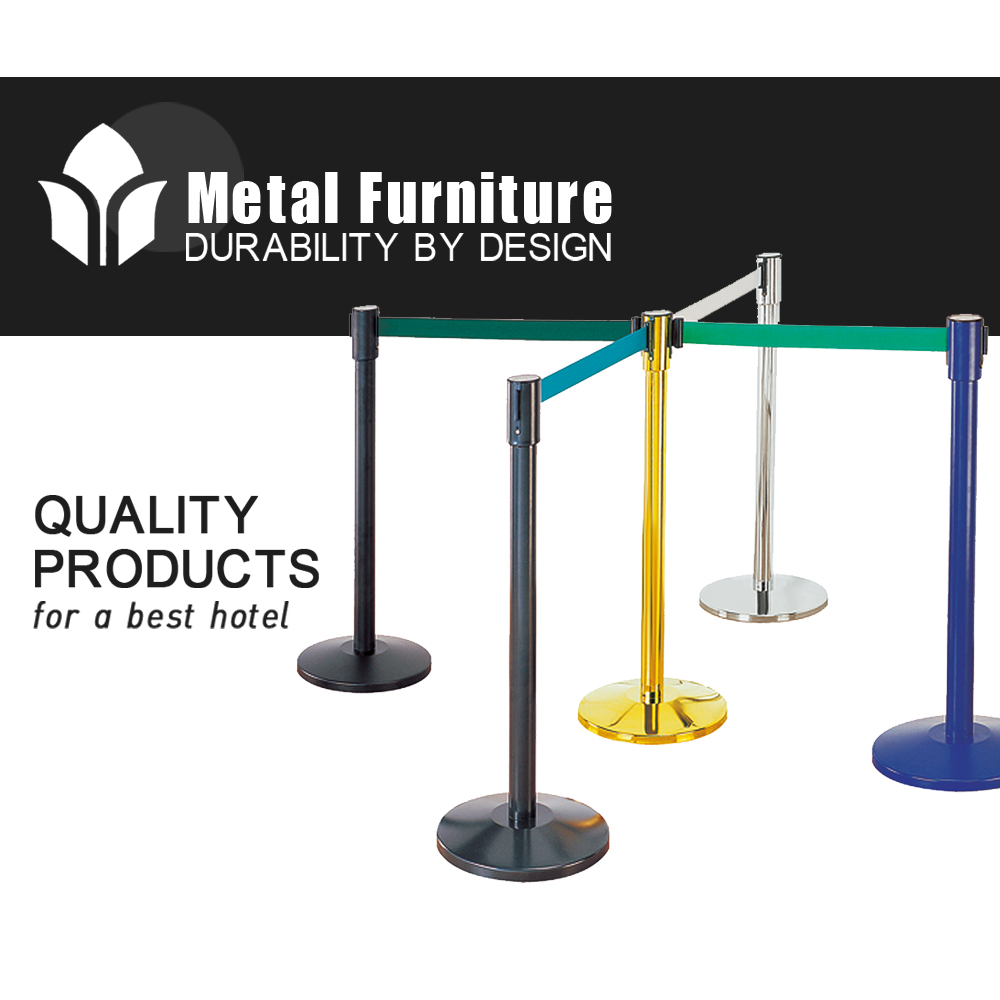 Stainless Steel Retractable Belt Queue Stand Pole Barrier For Airport