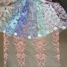 100%Polyester Material and embroidered Decoration Arabic lace fabric