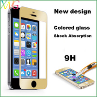Factory price color tempered glass screen protector film for Apple iphone 5 5s design screen protector mirror