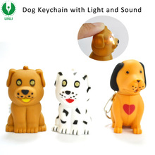 Customized Logo Promotional Plastic Led Sound Dog Keychain, Dog Keyring, Dog Key Chain