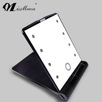 Led lighting foldable touch sensing compact cosmetic mirror