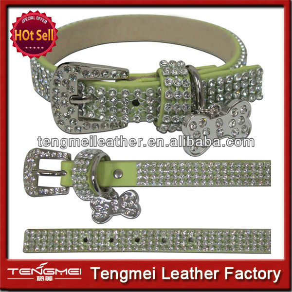 Western style multi row rhinestone stud dog collar for big dog