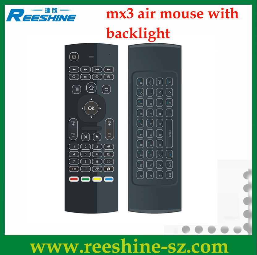 mx3 backlit air mouse 2.4g air mouse for android tv box backlit wireless keyboard
