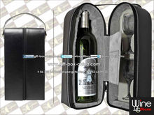 Faux leather portable wine carrying case