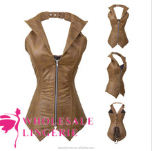 wholesale steampunk waist training corsets Leather Corset size s to xxxl