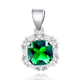 POLIVA Elegance Charming Green Gemstone Lab Created Emerald Cubic Zirconia Tapper Baguette Pendants in Silver