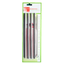 2015 Christmas gift 4 drinking straw+1 brush blister card packing food grade 304 Stainless steel drinking straw