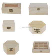Unfinished Plain Wooden Jewelry Organizer Storage Box Trinket DIY Jewelry Case