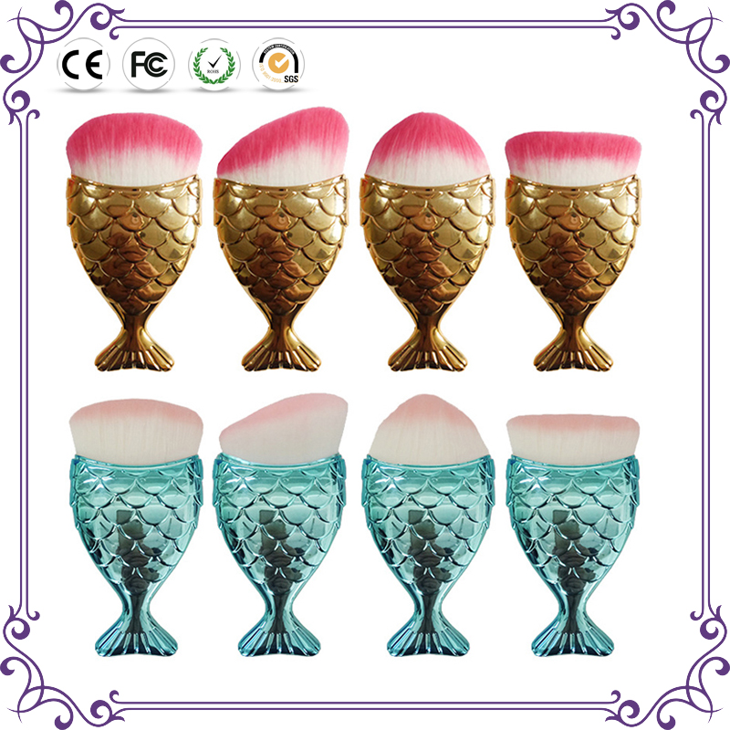 2018 best seller ! Unique beautiful mermaid makeup brush shiny foundation blush glitter make up brushes