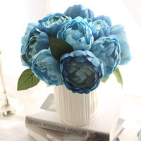 Vintage 1 Bouquet Silk Peony Artificial Flowers Bouquet Decorative Peony fake leaf wedding Artificial flowers MW12001