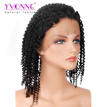 Overnight Delivery High Quality Kinky Curly Brazilian Hair 360 Lace Front Wig For Black Women