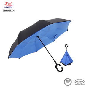 Windproof c handle double layer 23 inch 8 panels upside-down inverted reverse umbrella