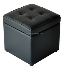 genuine leather storage ottoman/faux leather folding storage ottoman/good quality storage ottoman