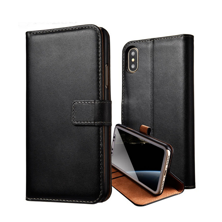 Real Genuine Wallet Book Leather Skin Phone Case For Iphone X 8 7 6 6s plus 5 5S SE PC Back Cover