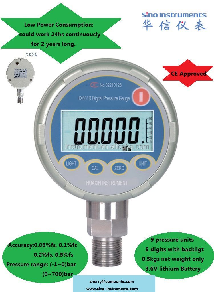 HX601 Hydraulic digital pressure gauge, digital water pressure gauge manometer