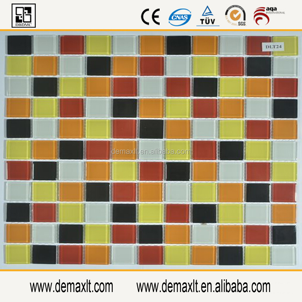 Yellow cold spary 8mm glass mosaic tile