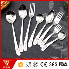 Stainless Steel Cute Smile Face Home Children Spoon Fork Cutlery Set