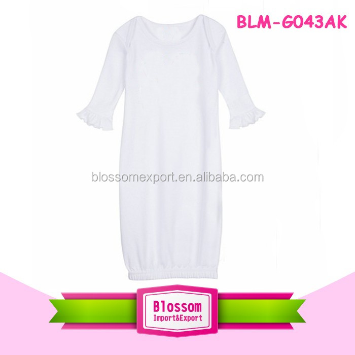 Pictures of latest gown cotton baby white gown lap shoulder ruffle sleeve kids gown designs