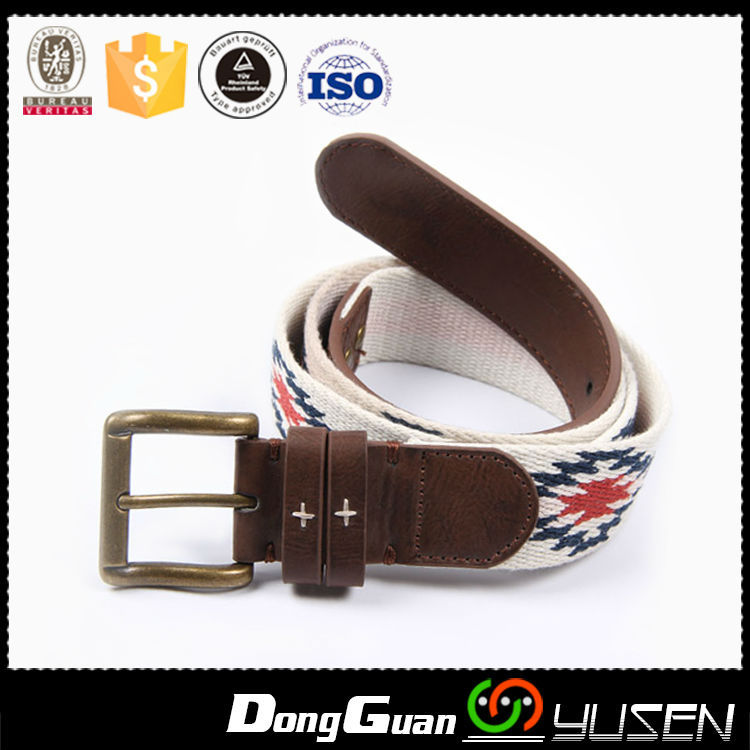 Top quality name brand jacquard weave imitated cotton webbing waist belt