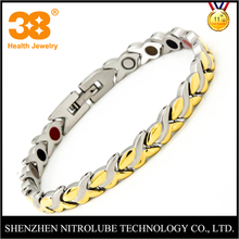 Silver Gold Plated 316L Stainless Steel 3000 Gauss Magnetic Energy Bracelet Health Jewelry Smart Watch