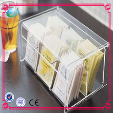 Hot sale custom high quality transparent acrylic tea bag storage box with compartments