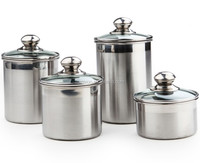 5'' stainless steel airtight canister set with Glass Lid