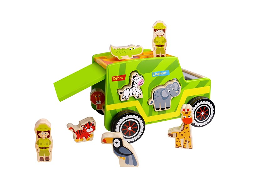 Latest Children Safari Animal wooden toy car wheels kids children toy car for kids