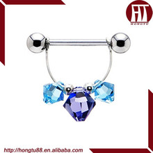 HT Handcrafted Shimmering Blue Crystal Nipple Stretching Ring Body Piercing Jewelry