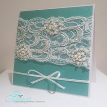 European style 2016 Teal Blue Pearl Lace Wedding Invitations