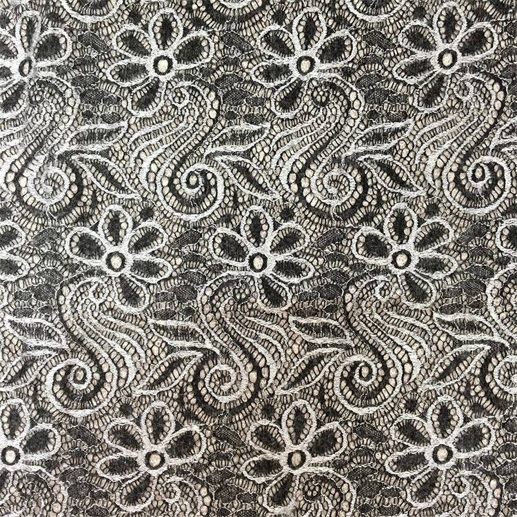 New type top sale metallic black and white african multi color lace fabric
