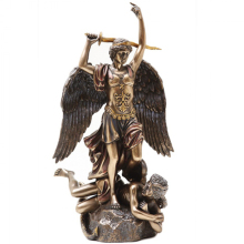 Garden decoration religious art metal crafts bronze saint michael archangel statue